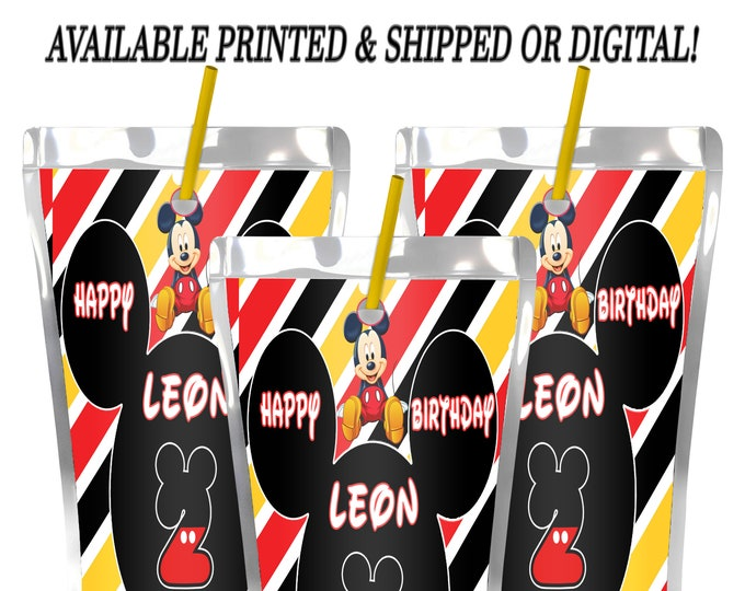 Mickey Mouse Capri Sun Label - Mickey Mouse - Party Favors -Juice Pouch Label - Digital File - Party Printables