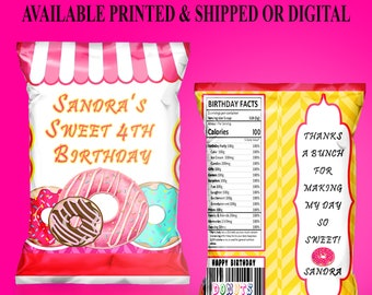Donut Chip Bag - Donut Theme - Donut Theme - Chip Bag - Custom Chip Bag - Digital File - Printed - Party Printables