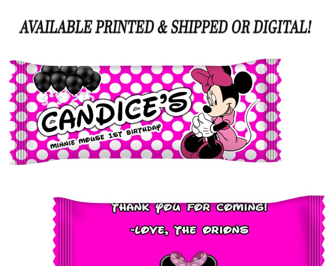 Minnie Mouse M&M Candy Wrappers - Party Favor - Minnie Mouse Birthday Party - Minnie Mouse - Minnie Mouse Favors - Digital - Printed