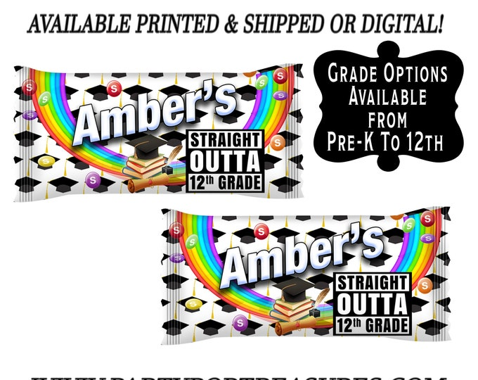Graduation Candy Favors - Candy Wrappers - Graduation Party Favors - Custom Skittles Bag Wrapper - Candy Bags -  Party Printables