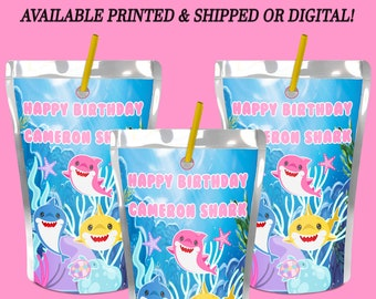Shark Capri Sun Labels - Custom Capri Sun Labels - Digital Labels - Baby Shark Party Favors - Custom Labels Stickers - Party Printables