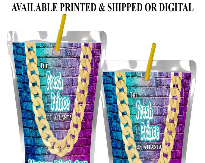 Fresh Prince Capri Sun Label - Fresh Prince Juice Pouch Label - Fresh Prince Party Favor - Digital - Party Printable - Printed