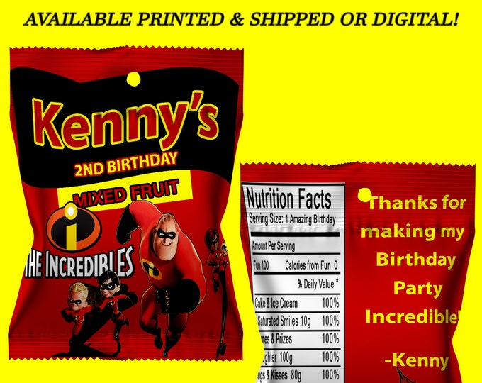 The Incredibles Fruit Snack Favor - Incredibles - Incredibles Party - Digital File - Party Printable - Printed