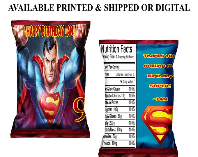 Superman Favor Bags - Chip Bags - Superman Party -  Superman Party Favors - Superhero Party Favors - Digital - Party Printable - Printed