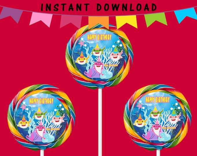 Shark Lollipop Labels - INSTANT DIGITAL DOWNLOAD - File Cannot Be Customized - File Not Editable - Baby Shark Party Favor - Digital