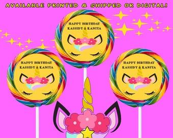 Unicorn Lollipop Labels - Swirl Lollipop Labels - Unicorn Party - Labels - Unicorn Birthday - Digital File - Printed - Party Printables