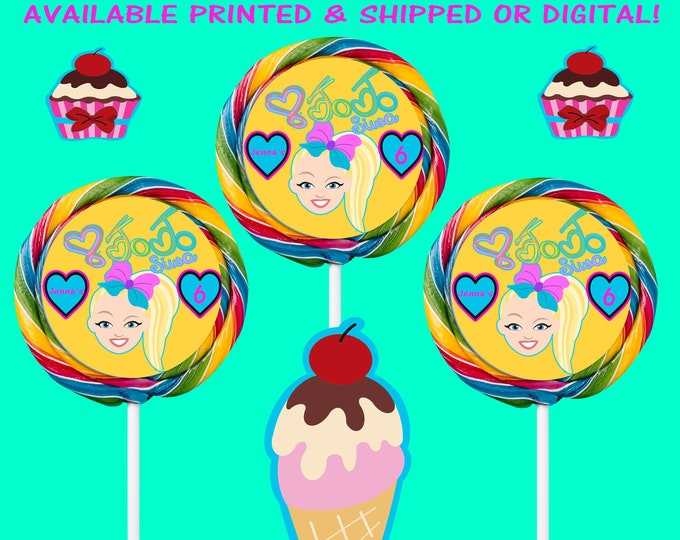 JoJo Lollipop Labels - JoJo - JoJo Labels - JoJo Stickers - JoJo Party - Labels - Stickers - Digital - Printed