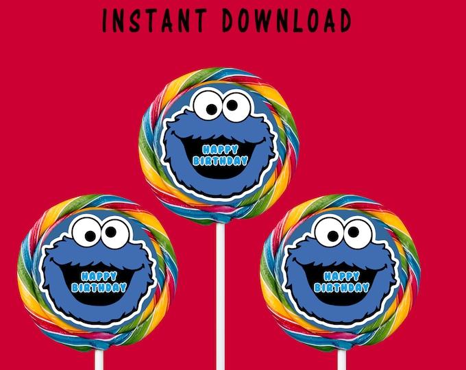 Cookie Monster Lollipop Labels - INSTANT DIGITAL DOWNLOAD - Cookie Monster Birthday Party - Stickers - Digital File - Printed