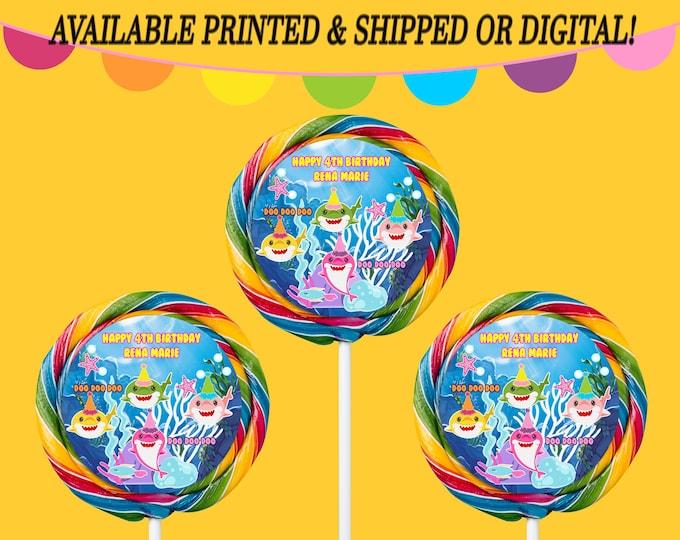 Shark Lollipop Labels - Lollipop Labels - Carnival Lollipop - Party Favor - Baby Shark Party Favors - Digital File - Party Printable