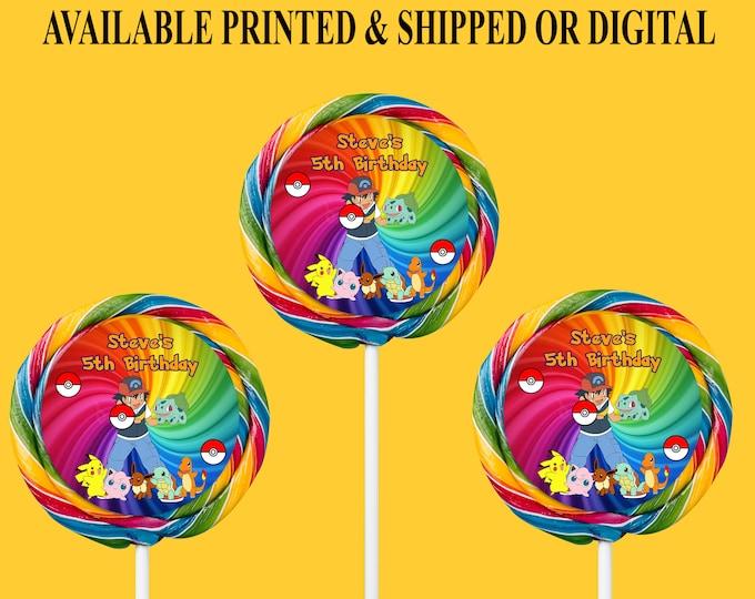 Pokemon Lollipop Labels - Swirl Lollipop Labels - Party Favors - Labels  - Digital File - Printed - Party Printables