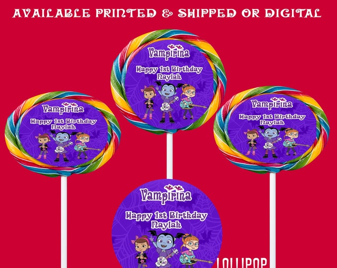 Vampirina Lollipop Labels - Lollipop Labels - Vampirina Lollipop Stickers - Party Favor - Digital File - Printed - Party Printable