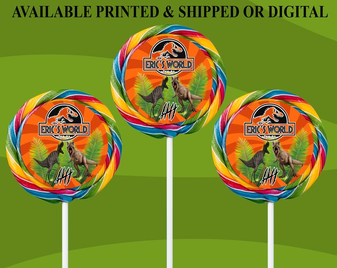 Jurassic World Lollipop Labels - Lollipop Labels - Jurassic Park Lollipop Stickers - Party Favor - Digital File - Printed - Party Printable