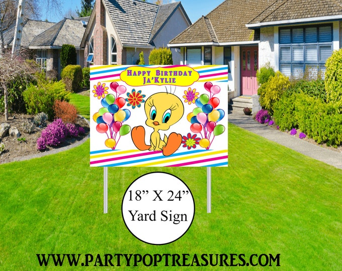 Tweety Bird Yard Sign - Tweety Bird Themed Party - Tweety Bird Lawn Sign - Party Printables - Yard Sign - Lawn Sign - Digital File