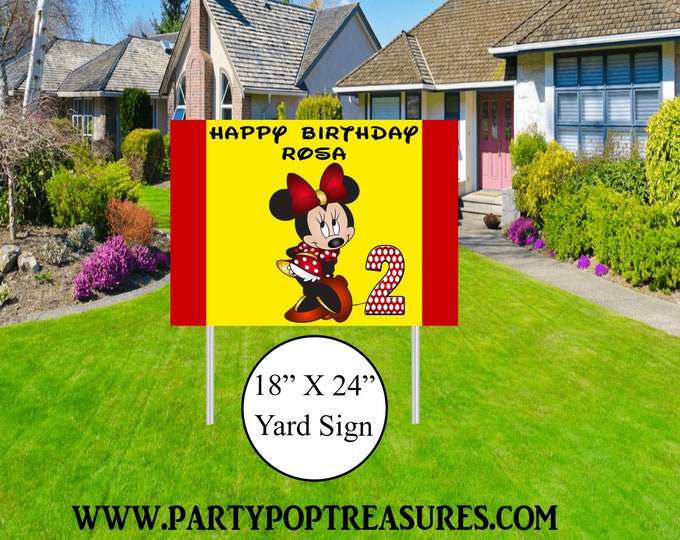 Minnie Mouse Yard Sign - Minnie Mouse Birthday Party - Minnie Mouse - Minnie Mouse Banner - Party Printables - Digital File
