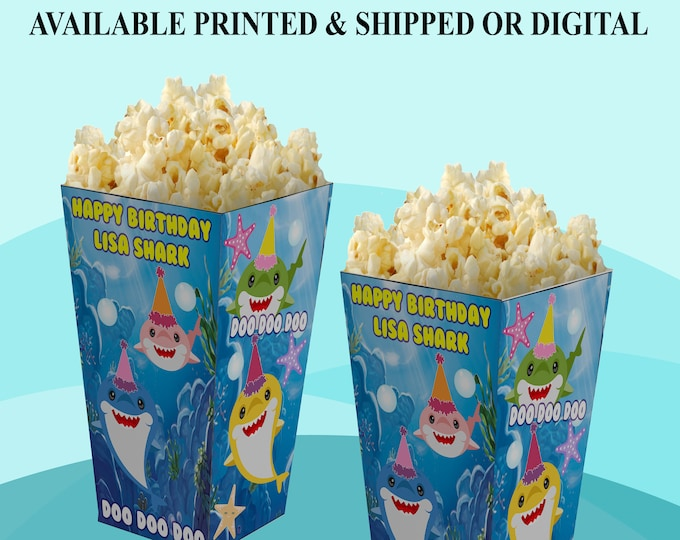 Shark Popcorn Box - Personalized Party Favor - Party Favor - Baby Shark - Digital - Party Printable - Baby Shark Party Favor