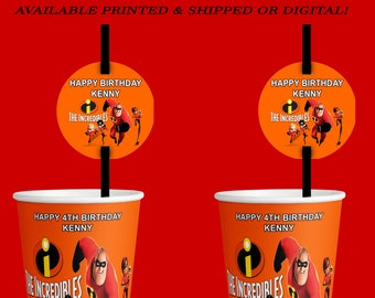 The Incredibles Cup Label & Straw Tag - Incredibles - Straw Tag - Cup Label - Incredibles Party - Digital - Printed - Printable