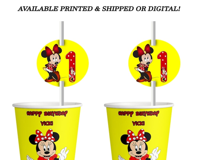 Minnie Mouse Cup Label & Straw Tag - Yellow Red - Minnie Mouse - Straw Tag - Cup Label - Minnie Mouse Party - Digital - Printed
