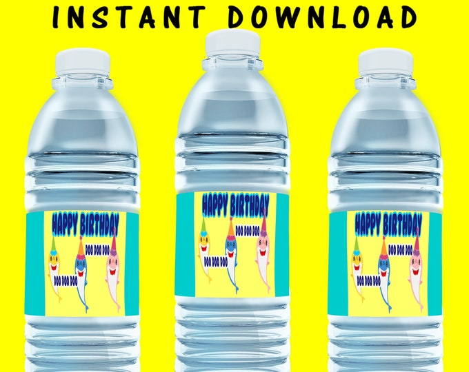 Shark Water Bottle Label - INSTANT DIGITAL DOWNLOAD - File Cannot Be Customized - File Not Editable - Shark - Water Bottle Label - Digital