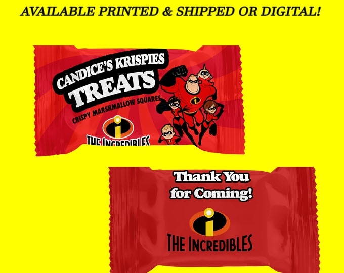 The Incredibles Rice Krispy Treat Wrapper - Incredibles Theme - Favor Bag - Party Favor - Digital File - Party Printables - Printed