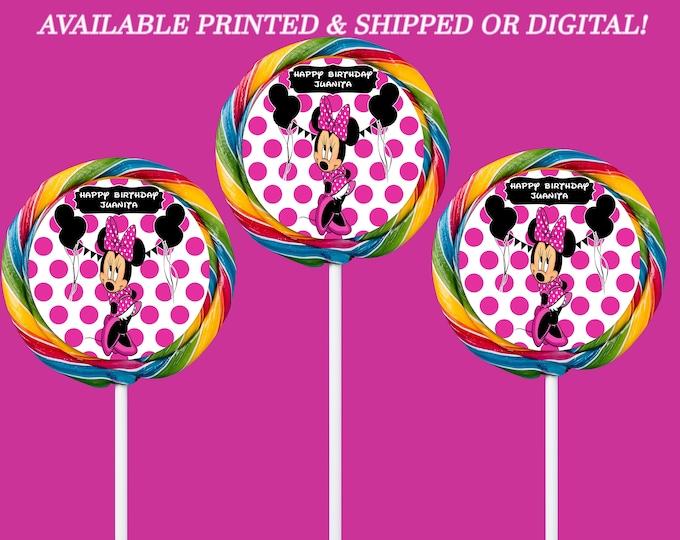 Minnie Mouse Labels - Custom Swirl Pops - White Pink Dots - Minnie Mouse Party - Custom Party Favors - Candy Favor - Digital - Printed