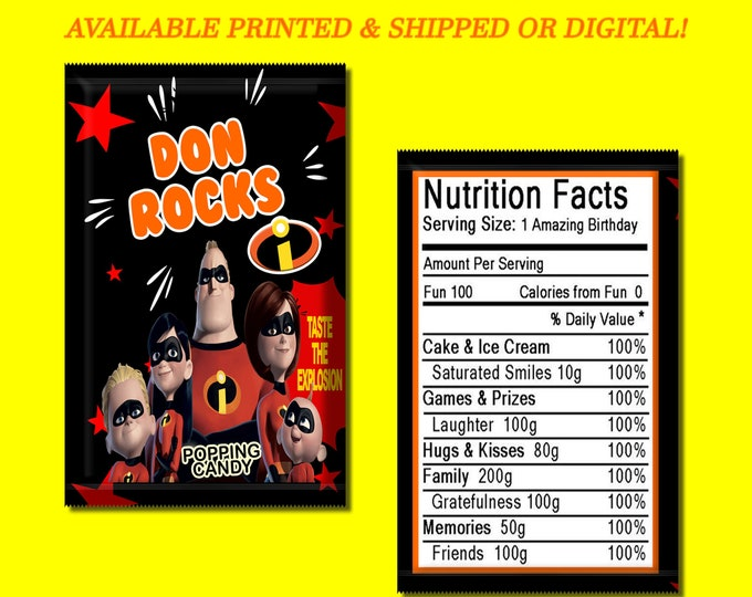 The Incredibles Pop Rock Wrapper - Incredibles Candy Wrapper - Candy Favor - Party Favor - Digital File - Party Printables - Printed