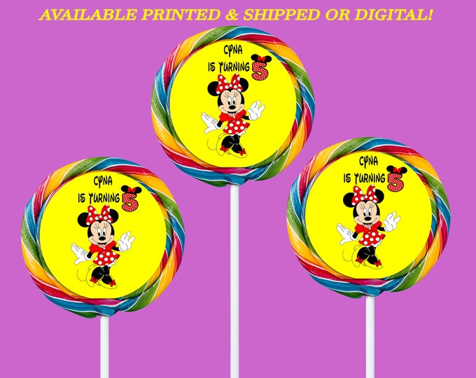 Minnie Mouse Lollipop Labels - Custom Swirl Pops - Minnie Mouse Party - Custom Candy Favors - Digital - Party Printables - Printed