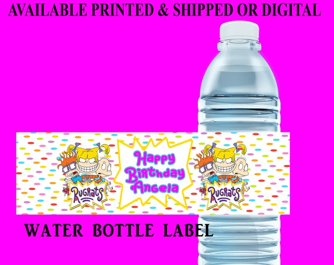 Rugrats Water Bottle Label - Water Bottle Label - Capri Sun Label - Rugrats Party Printable - Party Favor - Digital File - Party Printable