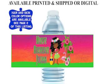 Hawaiian Water Bottle Label - Custom Label - Tropical Party - Printable Water Bottle Label - Hawaiian Party Favors - Party Printables