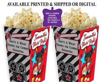 Movie Night Popcorn Box - Personalized Party Favor - Movie Party Favor -  Movie Theme Birthday Party - Digital - Party Printable - Printed