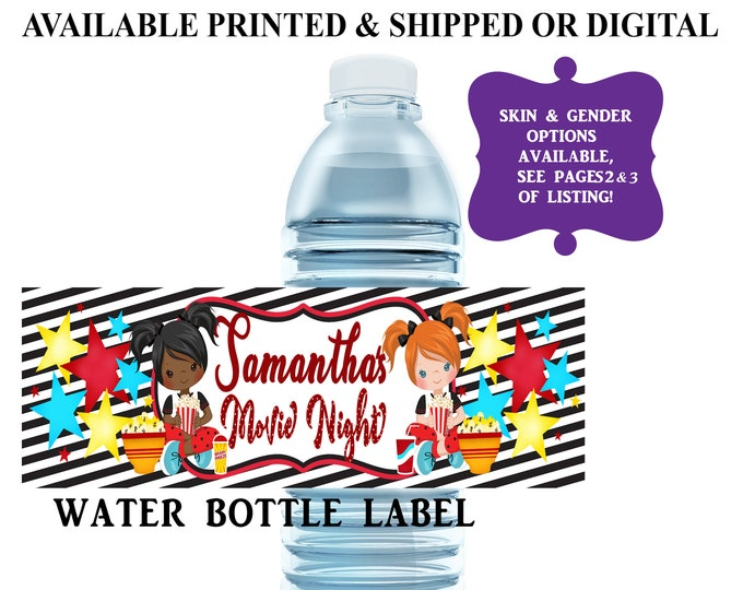 Movie Night Water Bottle Label - Water Bottle Label - Capri Sun Label - Slumber Party - Movie Theme Party Printable - Sleepover Party Favor