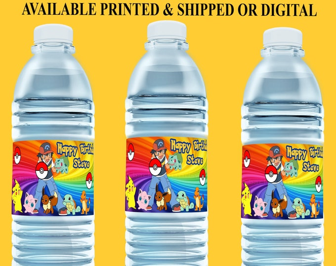 Pokemon Water Bottle Label - Pokemon Party - Party Favor - Party Printables - Digital - Printed