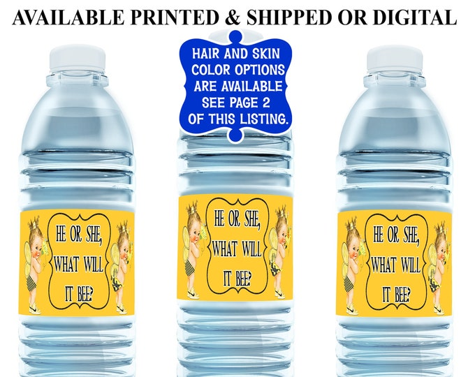 Bumble Bee Water Bottle Label - Water Bottle Label - Gender Reveal - Party Favor - Party Printables - Digital - Printed