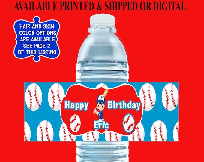 Baseball Water Bottle Label - Water Bottle Label - Capri Sun Label - Baseball Party Favors - Digital File - Printed - Party Printables