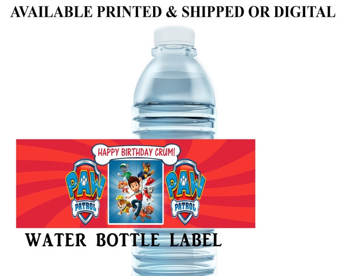 Paw Patrol Water Bottle Label - Water Bottle Label - Capri Sun Label - Paw Patrol Party - Movie Theme Party Printable - Party Favor