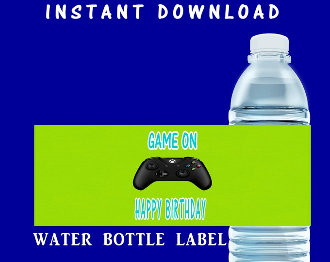 Video Gamer Water Bottle Label - INSTANT DIGITAL DOWNLOAD - File Cannot Be Customized - File Not Editable - Video Game - Party Printable