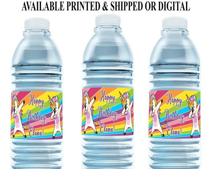 Dabbing Unicorn Water Bottle Label - Unicorn Water Bottle Label - Dabbing Unicorn - Party Favor - Party Printables - Digital - Printed