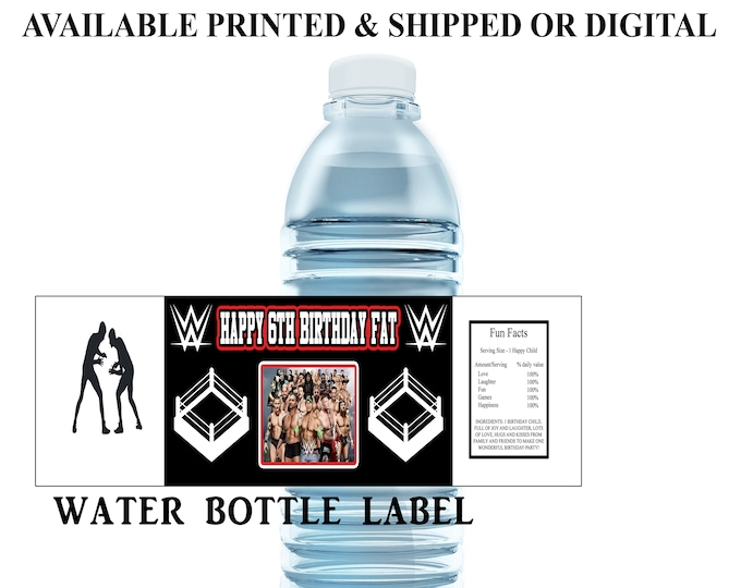 Wrestling Water Bottle Label - Water Bottle Label - Capri Sun Label - Wrestling Theme Party - Party Printable - Party Favor - Digital File
