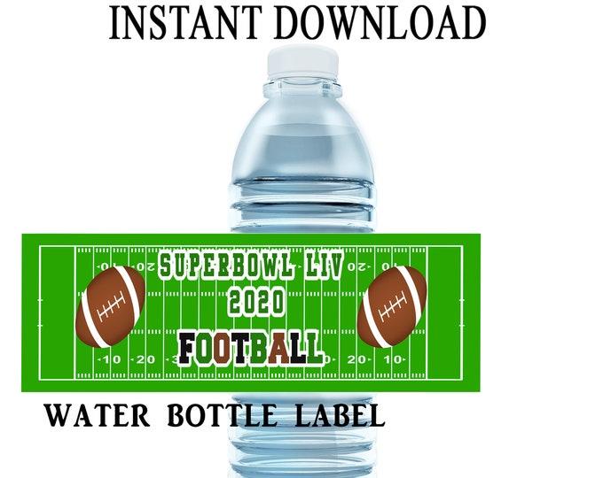 Super Bowl Water Bottle Label - INSTANT DIGITAL DOWNLOAD - File Cannot Be Edited - Super Bowl Party Favor - Digital File - Party Printables