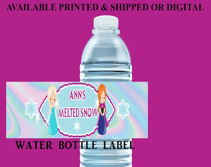 Frozen Water Bottle Label - Water Bottle Label - Capri Sun Label - Frozen Party Printable - Party Favor - Digital File - Party Printable