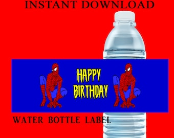 Spiderman Water Bottle Label - INSTANT DIGITAL DOWNLOAD - File Cannot Be Customized - Spiderman Party Favor - Party Favor - Party Printable