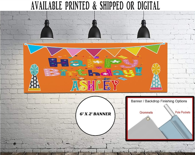Happy Birthday Banner - Happy Birthday Party - Party Favor - Birthday Party - Digital File - Printed - Party Printables