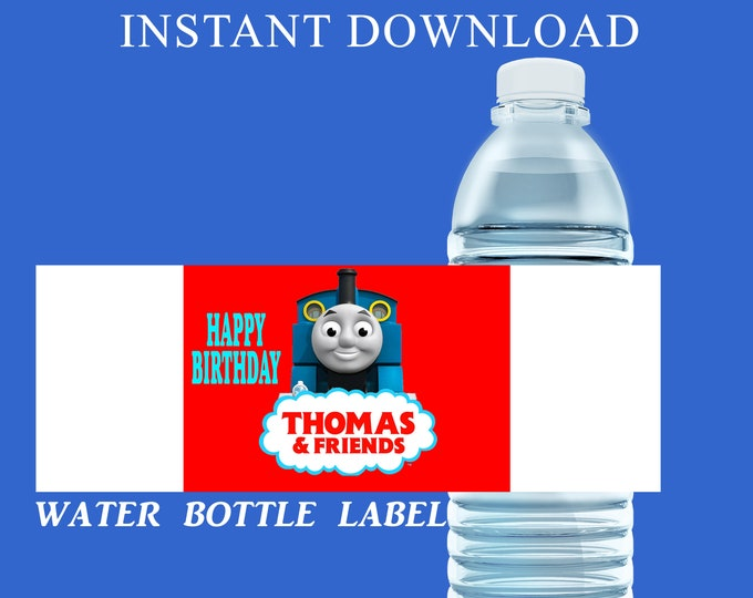 Thomas the Train Water Bottle Label - INSTANT DIGITAL DOWNLOAD - File Cannot Be Customized - Thomas the Train Party Favor - Party Printable