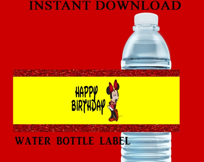 Minnie Mouse Water Bottle Label - INSTANT DIGITAL DOWNLOAD - File Cannot Be Customized - Minnie Mouse Favors - Party Favor - Party Printable