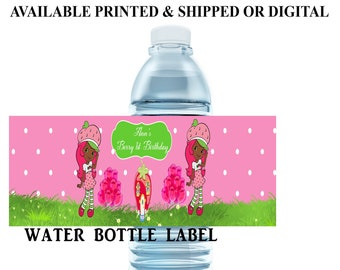 Strawberry Shortcake African American Water Bottle Label - Capri Sun Label - Strawberry Shortcake - Digital File - Party Printables