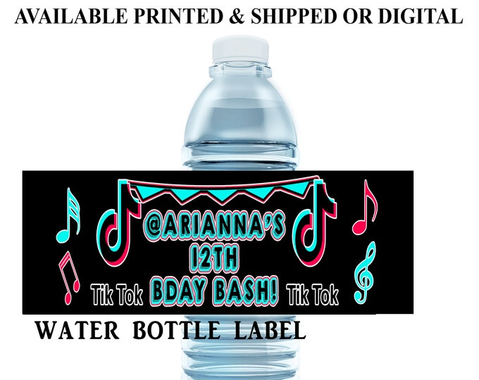 Music Water Bottle Label - Custom Water Bottle Label - Music Theme Label - Dance Theme - Digital - Party Printable - Printed