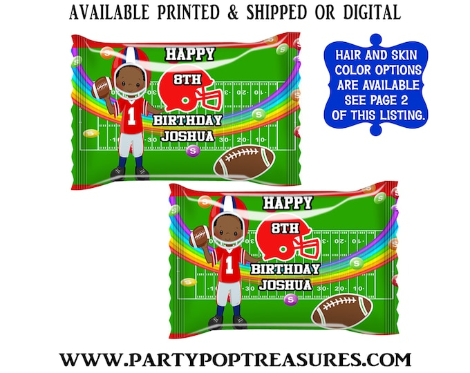 Football Fun Size Skittles Candy Wrapper - Rainbow Candies - Football Party Favor - Candy Wrapper - Digital - Party Printables