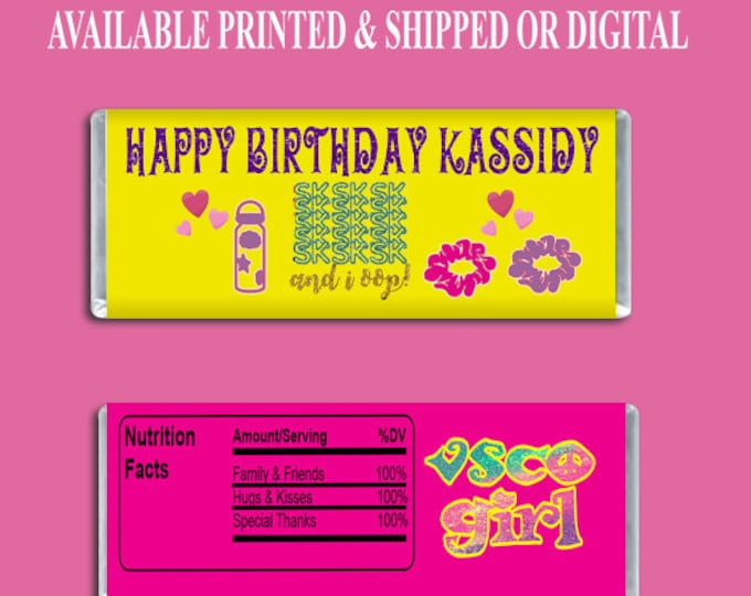 VSCO Candy Bar Wrapper - Party Favors - Hershey Candy Bar Wrapper - Custom Party Favors - VSCO Hershey Bar - Digital - Party Printable