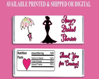 Bridal Shower Candy Bar Wrapper - Party Favors - Custom Party Favors - Bridal Shower Favors - Digital - Party Printable