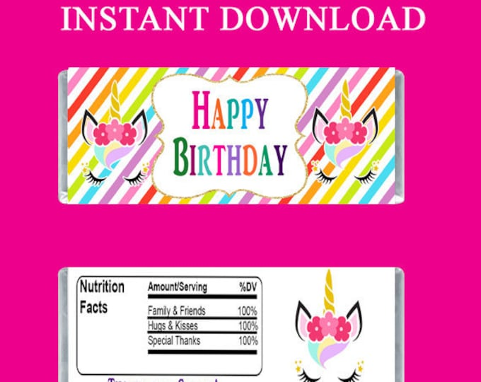Unicorn Candy Bar Wrapper - INSTANT DIGITAL DOWNLOAD - File Cannot Be Customized - Unicorn Party Favor - Digital Download - Party Printables