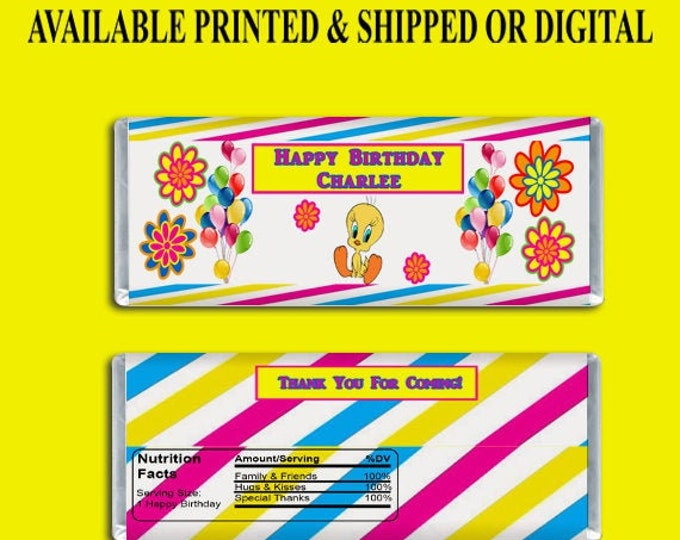 Tweety Bird Candy Bar Wrapper - Party Favors - Custom Party Favors - Kids Party - Birthday - Digital - Printed- Printables - Party Printable